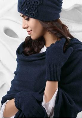 Син зимен дамски шал 12