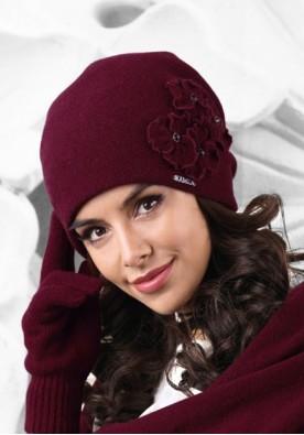 Дамска зимна шапка цвят бордо Andora