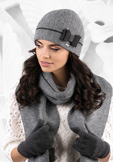 Комплект шал и шапка в сиво Bolonia