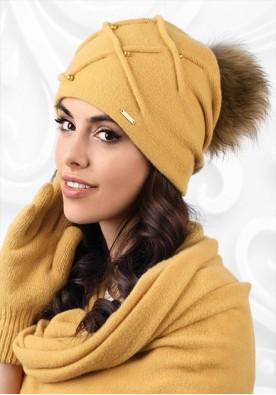 Жълта шапка с пискюл Marsala
