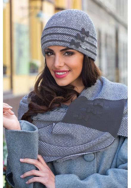 Комплект шал и шапка в сиво Фелиция