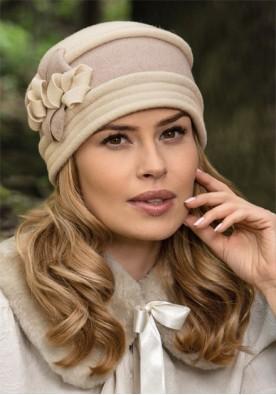 Ръчно изработена разкошна двуцветна дамска шапка Temosa