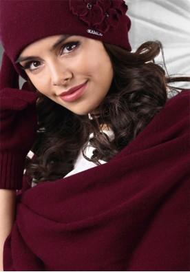 Зимен шал цвят бордо 15