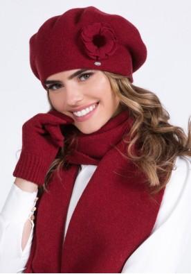Класен комплект от шал и барета в бордо марка Kamea-модел Biluna