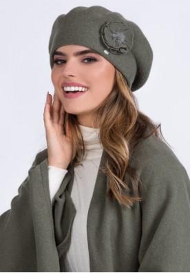 Прекрасен комплект шал, барета и ръкавици цвят каки Biluna - марка Kamea