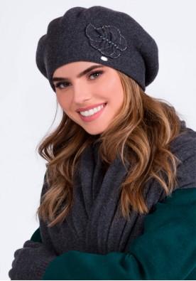 Класен комплект от барета, шал и ръкавици в сиво Justa