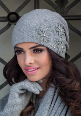 Зимна дамска шапка в сиво Лукреция
