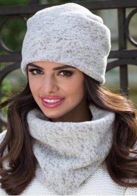 Топла зимна шапка меланж  бежово и екрю Моника