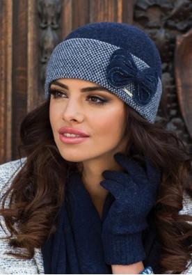 Луксозна синя зимна шапка Скарлет