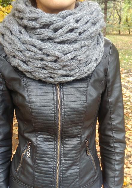 Дамски зимен шал в сиво Камелия