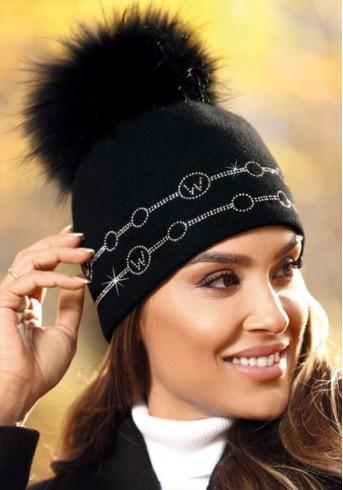 Зимна дамска шапка в черно с голям естествен пух от лисица Futis
