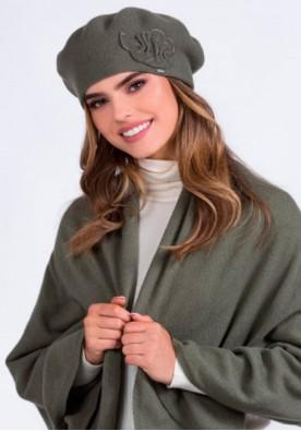 Комплект барета, шал и ръкавици цвят каки Justa