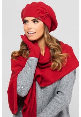 Елегантен комплект от барета, шал и ръкавици в червено Sewilla