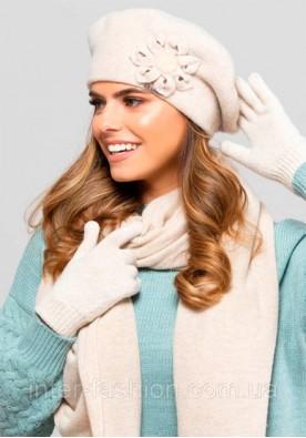 Зимен комплект от шапка, шал и ръкавици в бежово Sewilla
