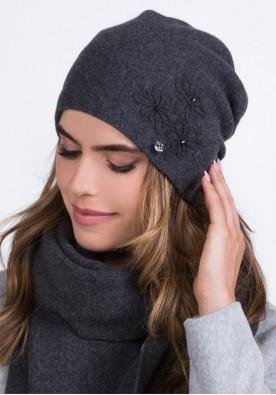 Елегантна тъмно сива шапка марка Kamea - модел Lilly