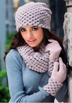 Комплект шапка и шал в розово Оливия